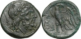 Greek Italy. Bruttium, The Brettii. AE Unit, 211-208 BC. D/ Head of Zeus right, laureate; behind, dagger. R/ Eagle standing left, head right, wings op...