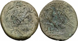 Greek Italy. Bruttium, The Brettii. AE unit , 218-205 BC. D/ Head of Zeus right, laureate; within wreath. R/ Eagle standing left on thunderbolt; to le...