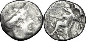 Greek Italy. Bruttium, Terina. AR Triobol, c. 400-356 BC. D/ Head of nymph right. R/ Nike seated left on cippus, holding uncertain object. HN Italy 26...
