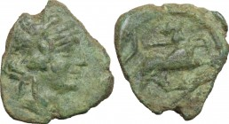 Greek Italy. Greek Italy, uncertain mint. AE 20 mm. Late 90s-early 80s BC. Æ (13mm, 2.55 g, 12h). D/ Wreathed head of Dionysus right. R/ Panther with ...
