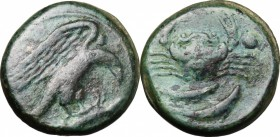 Sicily. Akragas. AE Hexas, end of 5th century-406 BC. D/ Eagle on hare right. R/ Crab; below, two fishes; on both sides, pellet. CNS I, 71. AE. g. 7.3...