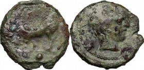 Sicily. Gela. AE Onkia, 420-405 BC. D/ Bull left; below, pellet. R/ Head of river god right. CNS III, 6. AE. g. 1.52 mm. 12.00 Olive-green patina. Abo...