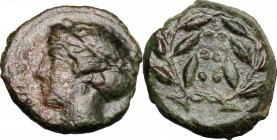 Sicily. Himera. AE Hemilitron, c. 415-409 BC. D/ Head of nymph left; before, six pellets. R/ Six pellets within laurel wreath. CNS I, 35; HGC 2, 479. ...