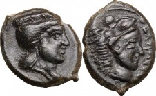 Sicily. Himera (as Thermai Himerenses). AE 15 mm, 407-406 BC. D/ Head of Hera right, wearing stephane. R/ Head of Herakles right, wearing lion's skin....