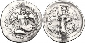 Sicily. Kamarina. AR Litra, 461-440 BC. D/ Nike flying left; below, swan; all in wreath. R/ Athena standing left, wearing aegis, holding spear and shi...