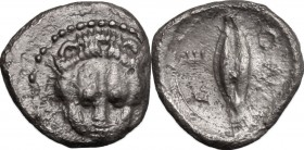 Sicily. Leontini. AR Litra, 485-465 BC. D/ Lion's head facing. R/ Grain of barley. SNG ANS 213. SNG München 546. AR. g. 0.59 mm. 10.00 About EF.