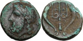 Sicily. Messana. AE Litra, c. 324-318 BC. D/ [MΕΣ]ΣΑΝΙΩΝ. Laureate head of Poseidon left; torch behind; letter below neck. R/ Ornate trident head, dol...