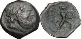 Sicily. Messana. The Mamertinoi. AE 19 mm, c. 211-208 BC. D/ Laureate head of Zeus right. R/ Warrior, holding spear and shield, advancing right. CNS 5...