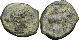 Sicily. Nakona. AE Onkia, before 400 BC. D/ Female head right. R/ Goat standing right; above, bunch of grapes and pellet. CNS I, 2. AE. g. 1.96 mm. 13...