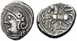 Celtic Coins   The Lingones (North West Gaul)  Quinarius 1st century BC, AR 1.95 g. Helmeted head of Roma l. Rev. Horse prancing l. Castelin 628. Sch...