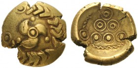 Celtic Coins   The Vindelici (Central Europe)  Stater early 1st century BC, AV 7.00 g. Stylised triskeles within wreath at end of which, annulet. Rev...