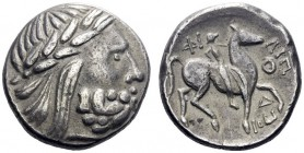 Celtic Coins   Eastern Celts in the Danube region and Balkans  Tetradrachm imitating Philip II issue, early 3rd century BC, AR 12.67 g. Laureate head...