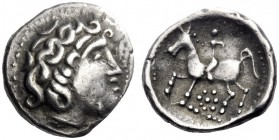 Celtic Coins   Eastern Celts in the Danube region and Balkans  Drachm imitating Philip II issue, 2nd century BC, AR 3.59 g. Stylised head r. Rev. Boy...