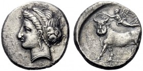 Greek Coins   Campania, Neapolis  Didrachm circa 275-250, AR 7.21 g. Diademed head of nymph l. Rev. Man-headed bull l., crowned by Nike flying above....