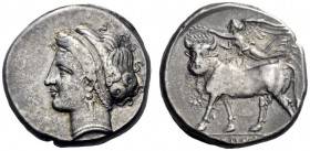 Greek Coins   Campania, Neapolis  Didrachm circa 275-250, AR 7.14 g. Diademed head of nymph l. Rev. Man-headed bull l., crowned by Nike flying above....