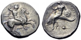 Greek Coins   Calabria, Tarentum  Nomos circa 332-302, AR 7.88 g. Horseman galloping r., holding shield and spear. Rev. Dolphin rider l. holding shie...