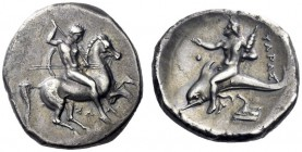 Greek Coins   Calabria, Tarentum  Nomos circa 332-302, AR 7.73 g. Horseman galloping r., holding shield and spear. Rev. Dolphin rider l. holding dist...