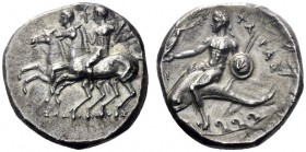Greek Coins   Calabria, Tarentum  Nomos circa 280-272, AR 6.53 g. Dioscuri riding l. side by side. Rev. Dolphin rider l. holding shield and spears, c...
