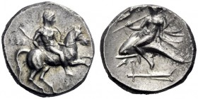 Greek Coins   Calabria, Tarentum  Nomos circa 272-240, AR 6.50 g. Horseman r., holding shield and spear, about to dismount. Rev. Dolphin rider l., ho...