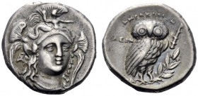 Greek Coins   Lucania, Heracleia  Drachm circa 281-278, AR 3.80 g. Facing head of Athena turned slightly r., wearing crested helmet decorated with Sc...