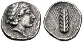 Greek Coins   Metapontum  Nomos circa 430-400, AR 7.58 g. Head of Demeter r., hair fastened with band. Rev. Ear of barley. Johnston-Noe 391. Historia...