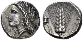 Greek Coins   Metapontum  Nomos circa 330-290, AR 7.94 g. Head of Demeter l., wearing barley wreath. Rev. Ear of barley, with leaf to l., upon which,...