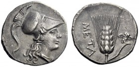 Greek Coins   Metapontum  Punic half-shekel circa 215-207, AR 3.47 g. Helmeted head of Athena r. Rev. Ear of barley with leaf to r., upon which, owl ...