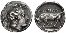 Greek Coins   Thurium  Nomos circa 410-400, AR 8.01 g. Head of Athena r., wearing crested Attic helmet decorated with Scylla scanning. Rev. Bull butt...