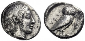 Greek Coins   Velia  Drachm circa 465-440, AR 3.73 g. Head of nymph r., wearing necklace. Rev. Owl standing r., with closed wings, perched on olive t...