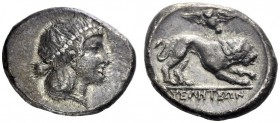 Greek Coins   Velia  Didrachm circa 400-340, AR 7.36 g. Head of nymph r., wearing necklace. Rev. Lion walking r.; above, owl flying l. Williams 217. ...