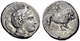 Greek Coins   Velia  Nomos circa 300-280, AR 7.35 g. Head of Athena r., wearing crested Attic helmet decorated with griffin. Rev. Lion walking r.; ab...
