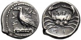 Greek Coins   Sicily, Agrigentum  Litra circa 413, AR 0.77 g. Eagle standing l., on Ionic capital, with closed wings. Rev. Crab. SNG Ashmolean 1673. ...