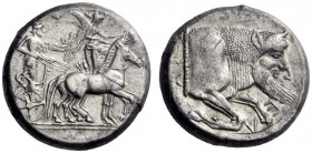 Greek Coins   Gela  Tetradrachm circa 480-470, AR 17.18 g. Slow quadriga driven r. by charioteer; above, Nike flying r. to crown horses. Rev. Forepar...