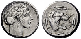 Greek Coins   Leontini  Tetradrachm circa 440, AR 17.73 g. Laureate head of Apollo r. Rev. Lion's head r., jaws open and tongue protruding; around, f...