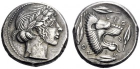 Greek Coins   Leontini  Tetradrachm circa 440, AR 17.23 g. Laureate head of Apollo r. Rev. Lion's head r., jaws open and tongue protruding; around, f...