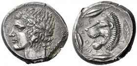 Greek Coins   Leontini  Tetradrachm circa 430, AR 17.15 g. Laureate head of Apollo l. Rev. Lions' head l., jaws open and tongue protruding; around, t...