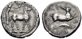 Greek Coins   Messana  Tetradrachm circa 425-421, AR 16.99 g. Biga of mules driven r. by charioteer, holding reins and kentron ; above, Nike flying r...
