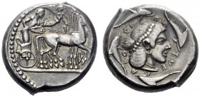 Greek Coins   Syracuse  Tetradrachm circa 475-470, AR 17.62 g. Slow quadriga driven r. by charioteer, holding kentron and reins; above, Nike flying r...