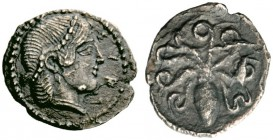 Greek Coins   Syracuse  Litra circa 460, AR 0.72 g. Pearl-diademed head of Arethusa r. Rev. Octopus. Boehringer –, cf. 462. SNG ANS 141.  Old cabinet...