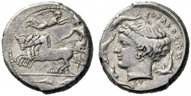 Greek Coins   Syracuse  Tetradrachm signed by Eumenes circa 415-410, AR 17.18 g. Prancing quadriga driven l. by charioteer, holding kentron and reins...