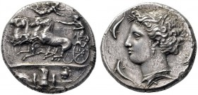 Greek Coins   Syracuse  Decadrachm signed work by Euainetos circa 400, AR 41.38 g. Fast quadriga driven l. by charioteer, holding reins and kentron ;...