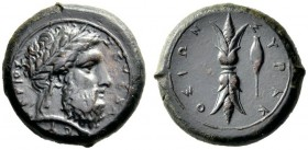 Greek Coins   Syracuse  Hemilitra (?) 357-354, Æ 17.58 g Laureate head of Zeus r. Rev. Τhunderbolt upright; to r., barley. Calciati II, 71.  Brown to...
