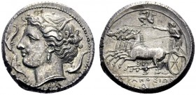 Greek Coins   Syracuse  Tetradrachm circa 310-305, AR 17.18 g. Head of Persephone l., wearing barley wreath, triple-pendant earring and necklace. Aro...