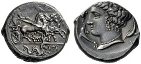 Greek Coins   The Carthaginians in Sicily  Tetradrachm, Panormus circa 350, AR 17.04 g. Fast quadriga driven r. by charioteer, holding kentron and re...