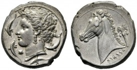 Greek Coins   The Carthaginians in Sicily  Tetradrachm, Sicily circa 320, AR 16.97 g. Head of Tanit-Persephone l., wearing barley wreath, earring and...