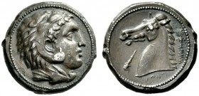 "Greek Coins   The Carthaginians in Sicily  Tetradrachm, ""mint of the Camp"" circa 300, AR 16.80 g. Head of Heracles-Melqart r., wearing lion's skin. R..."