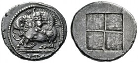 Greek Coins   Macedonia, Acanthus  Tetradrachm circa 470-430, AR 16.92 g. Bull with head raised, crouching by lion leaping on its back to r.; above, ...
