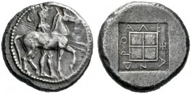 Greek Coins   Kings of Macedonia, Alexander I 498 – 454  Octodrachm circa 476-460, AR 28.39 g. Horseman, wearing chlamys and causia , holding two spe...