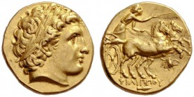 Greek Coins   Philip II 359 – 336 and posthumous issues  Stater, Magnesia circa 323-316, AV 8.64 g. Laureate head of Apollo r. Rev. Prancing biga r. ...