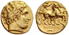 Greek Coins   Philip II 359 – 336 and posthumous issues  Stater, Abydus circa 323-316, AV 8.62 g. Laureate head of Apollo r. Rev. Prancing biga r. dr...